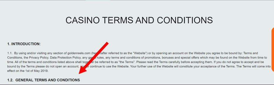 Example of placing a gambling terms and conditions of the Golden Reels